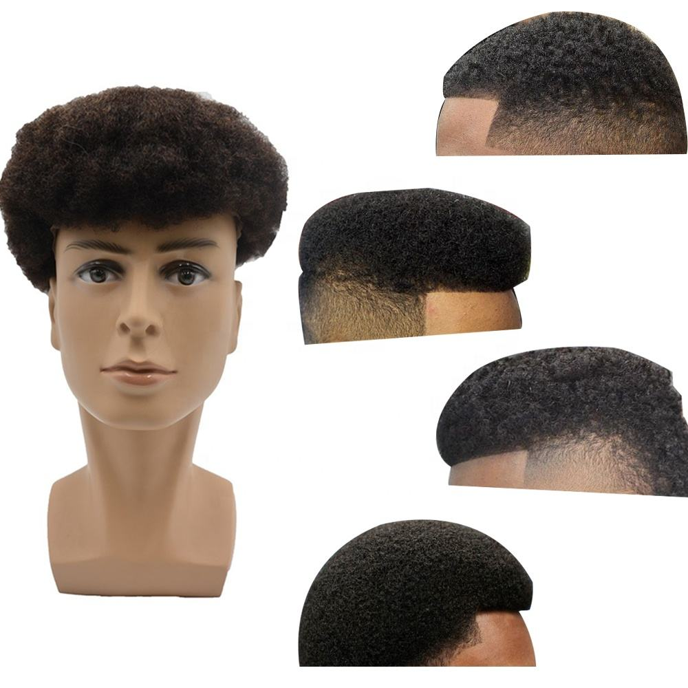 breath well ventilate popular afro toupee all french lace afro curl toupee for black men