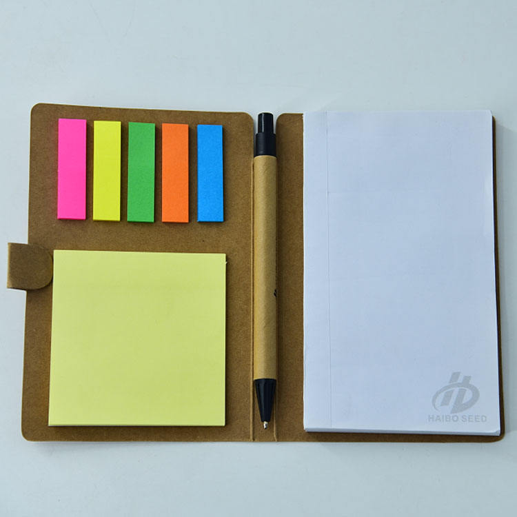 Papier Kraft Promotionnel Logo Personnalisé porte-stylo Mémo Pad Pour Animaux De Compagnie Ensemble de Notes Autocollantes avec kraft Stylo Set Bloc-Notes