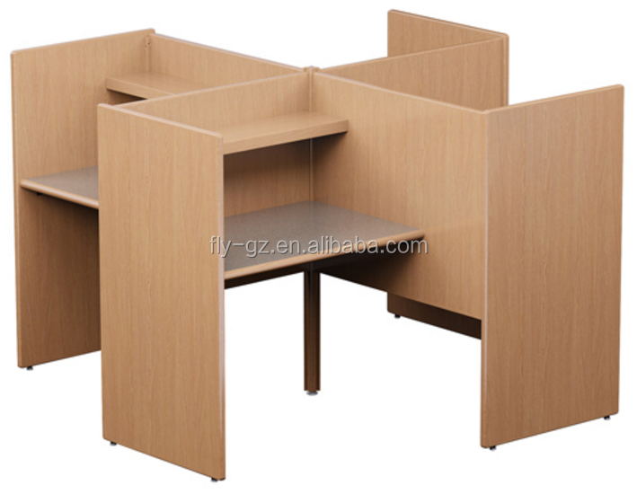 4 person MDF wood computer desk reading room study carrel(PC-16)