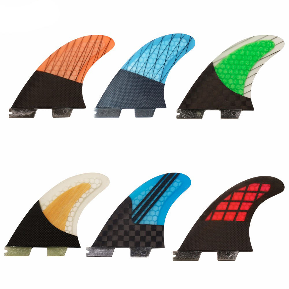 Hot sale good quality carbon fiberglass thruster surf fins honeycomb fcs 2 Medium G5 surfboards fins