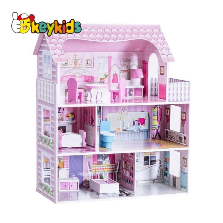 2020 Top sale classic kids wooden doll house for wholesale W06A139