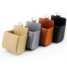 Auto Mobile Phone Holder PU Leather Air Vent Car Storage