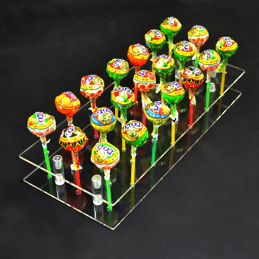Hot 21 gaten acryl lollipops display, acryl lollipops display