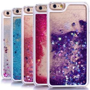 Hot Cassa Del Telefono Trasparente Glitter Stars Dinamico Liquid Quicksand Hard Case Back Cover Forfor iphone 6 più 6 s plus