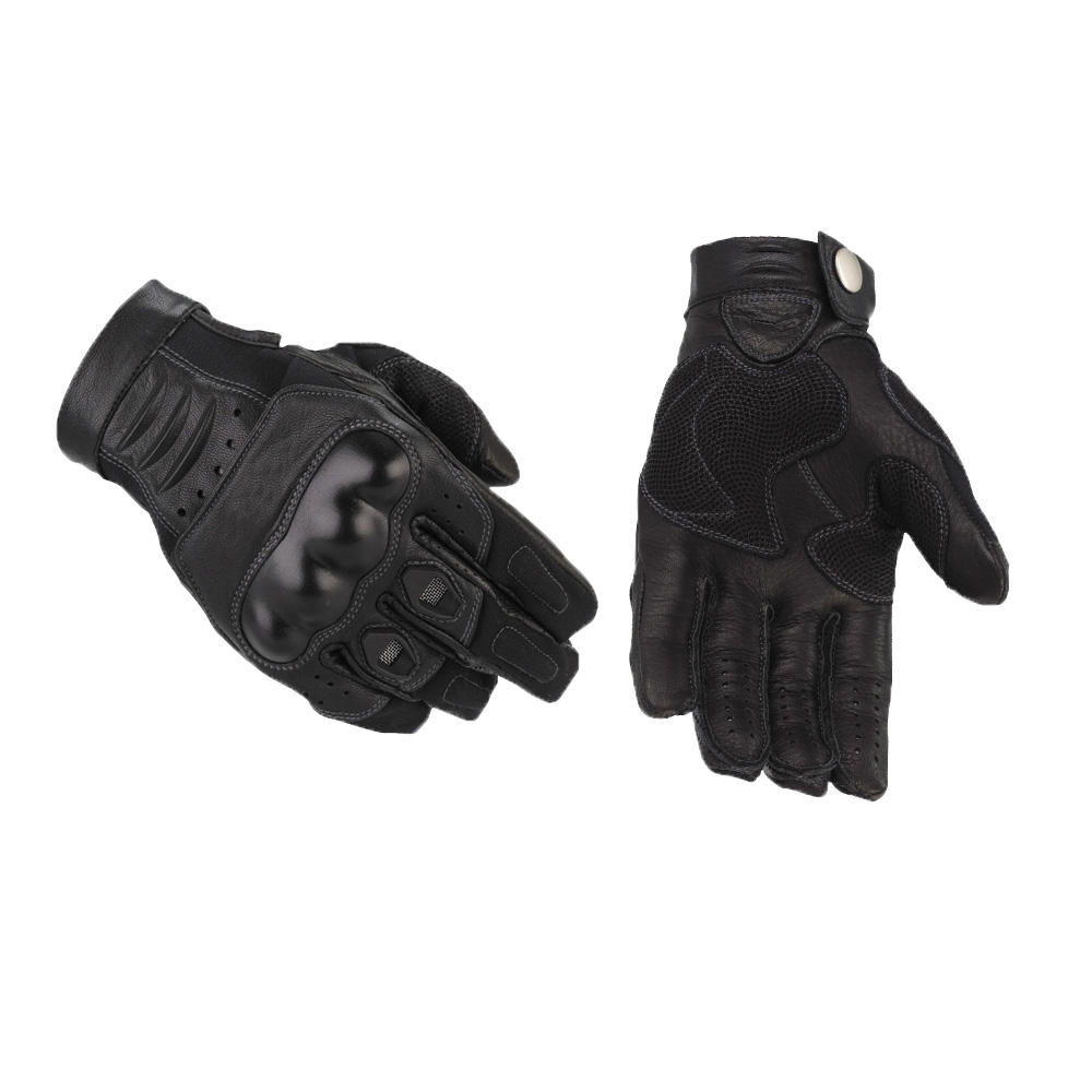 Black Leather Motorcycle Riding Gloves Biker leather Gloves for man