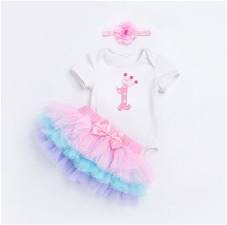 LSF14 Baby Costumes Cloth Infant Toddler Girls First Party Outfits Newborn Romper clothing Set birthday gift 3pcs sets