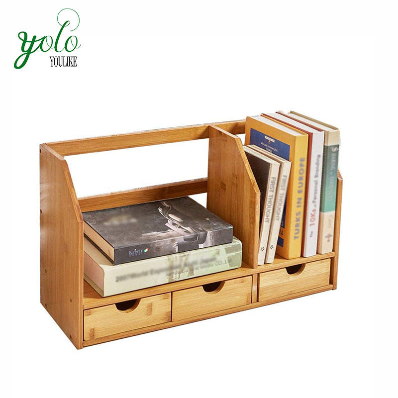 Newest Design Simple Bamboo Wood Movable Book Shelf for Office&Home