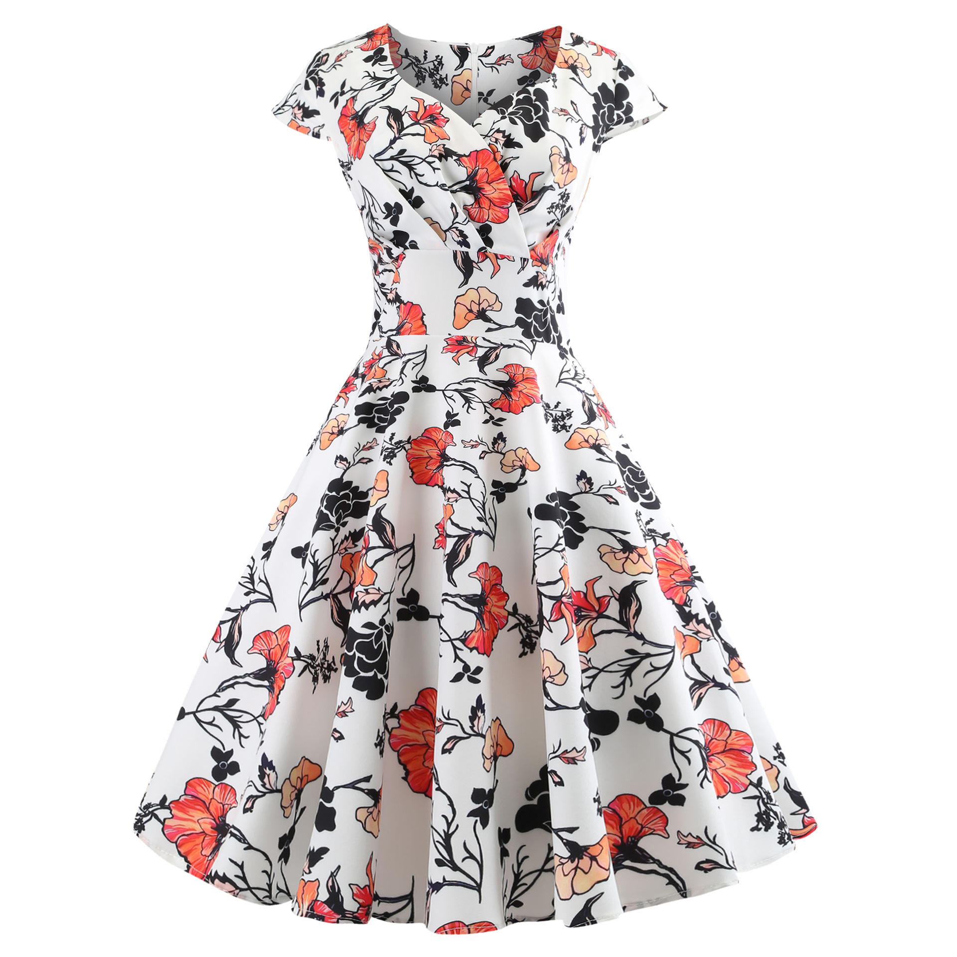Ecoparty Floral Print Summer Women Vintage 50S 60S Short Sleeve V Neck Casual Elegant Dresses