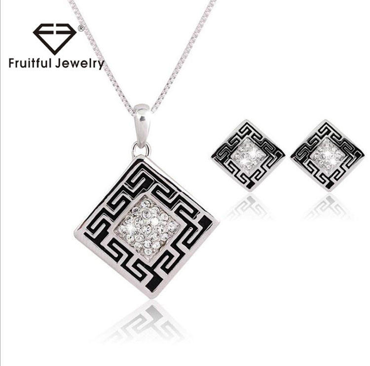 Vintage long chain square pendant necklace jewelry set,Silver plated jewelry set yiwu jewelry set