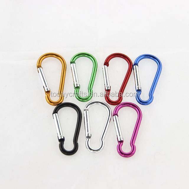 2016 China wholesale cheap colourful key chains carabiner hook/aluminum carabiner hook