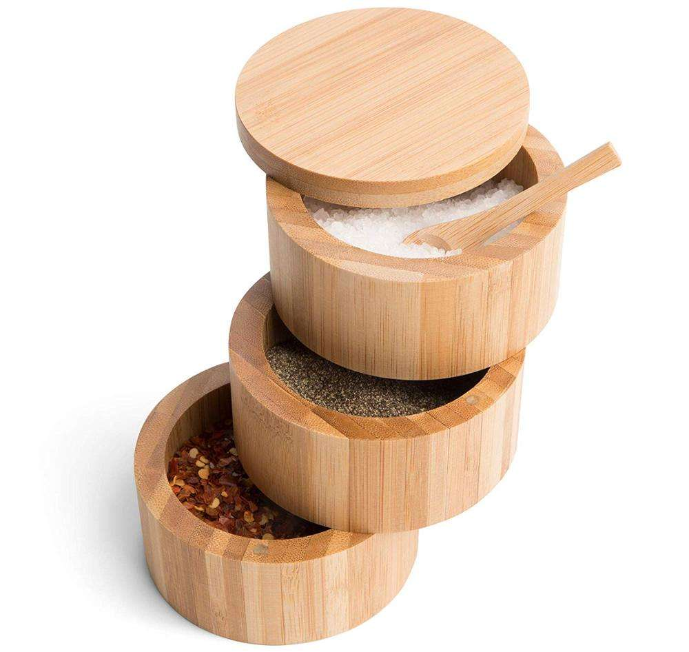 Secure Durable Storage /& Organization for Seasonings 8.5oz Round Spice Container Herbs or Small Items By HTB Bamboo Salt Box With Magnetic Swivel Lid