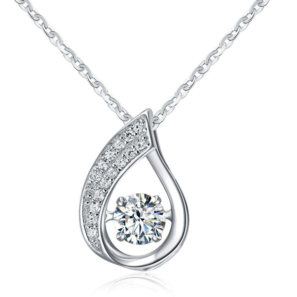 RINNTIN SN41Fashionable Silver Necklace 925 Sterling Zircon Pendant For Women