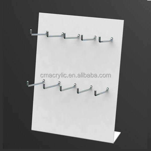 manufacturer supplies acrylic jewelry display Classic white Jewelry Hanger Stand with hooks for necklace bracelet earring