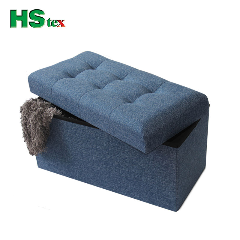 HStex designer living room home furniture foldable storage pouf modern stool fabric foot ottoman boxes