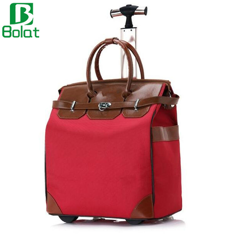 Large Capacity Oxford with Leather Rolling Tote Bag Women Luggage Suitcase On Wheel Travel Trolley Bag