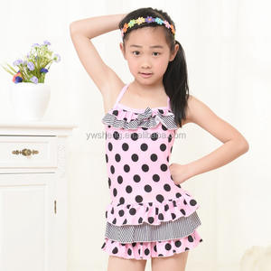 Factory price light pink black dots children's swimwear kids swimwear a little baby swimwear /kids bikini
