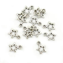 JS1388 Fashion small Antique Silver Metal Star Charm , mini tiny Jewelry Five Point Star Charm Pendant