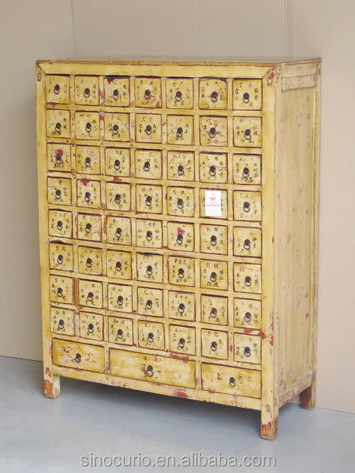 Asian Antique chinese wooden medicine cabinet