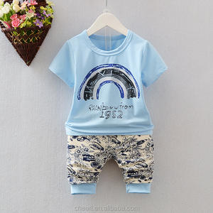 handsome sunny boutique good quality 100% organic cotton childrens baby kids summer clothes set outfits kid clothes