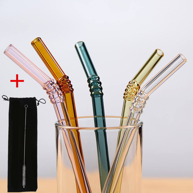 Wholesale High Quality Reusable Clear Glass Straw Cocktail Milk Tea Crystal Bent Drinking Straws