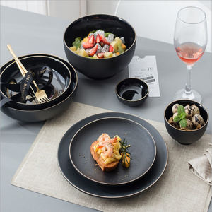 Wholesale Ceramic black Golden Rim Flat round Steak Plate dish bowl porcelain tableware