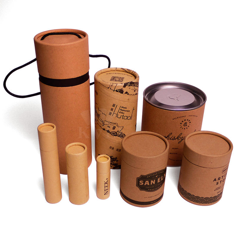 Custom cardboard tube for tea canister packaging box cylinder paper box with round hat lid