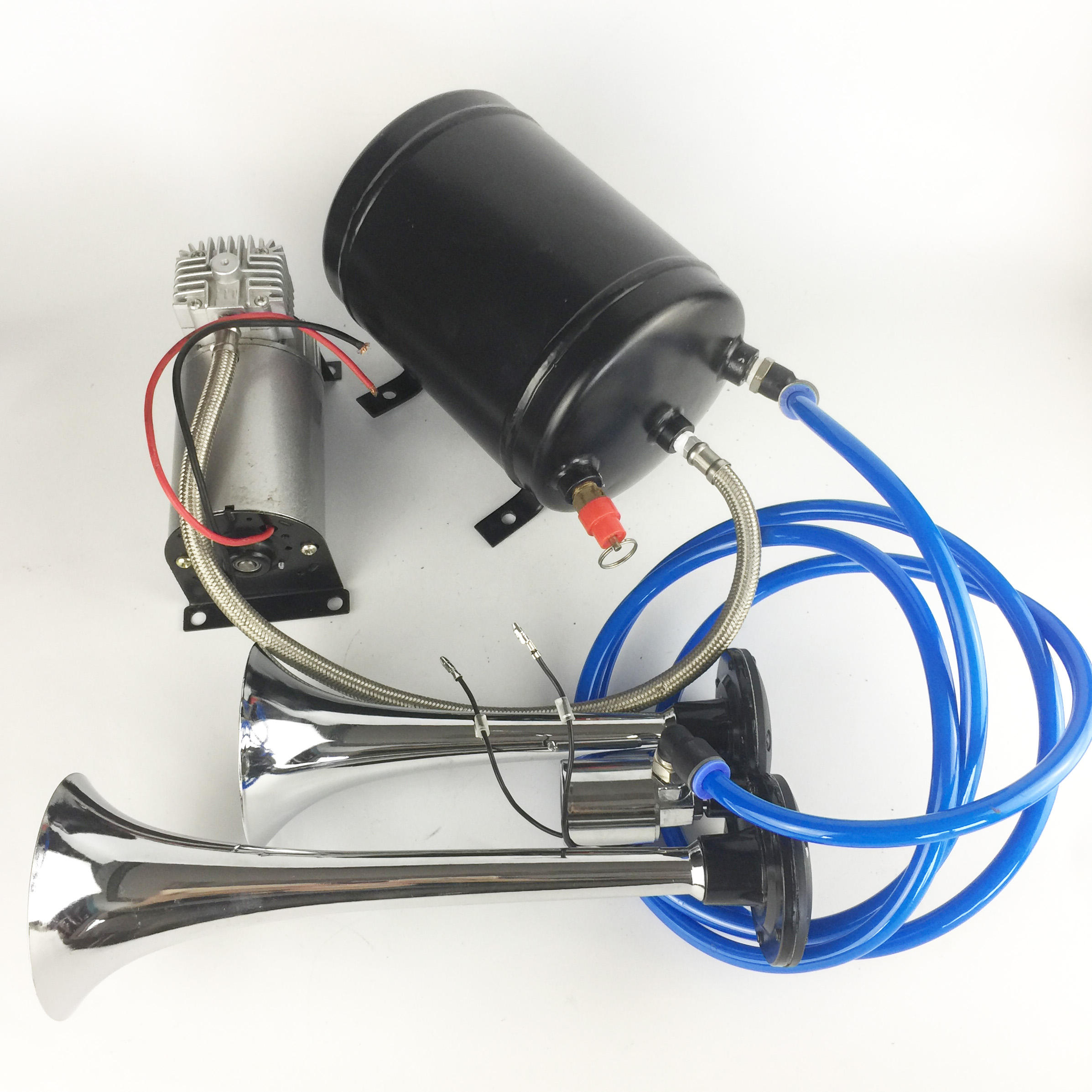 Air Horn, Chrome Zinc Dual Trumpet Air Horn with Compressor for Any 12V Vehicles Trucks Lorrys Trains Boats Cars Vans