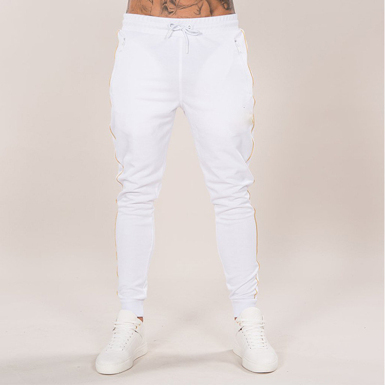 2019 Fashion OEM Clothing Manufacturer High Quality White 100% Cotton Men Jogger Pants