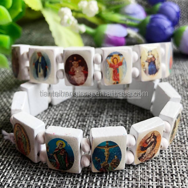 12pcs/pack wood rosary bracelet with religious saints icon bangle white black brown mixed color available