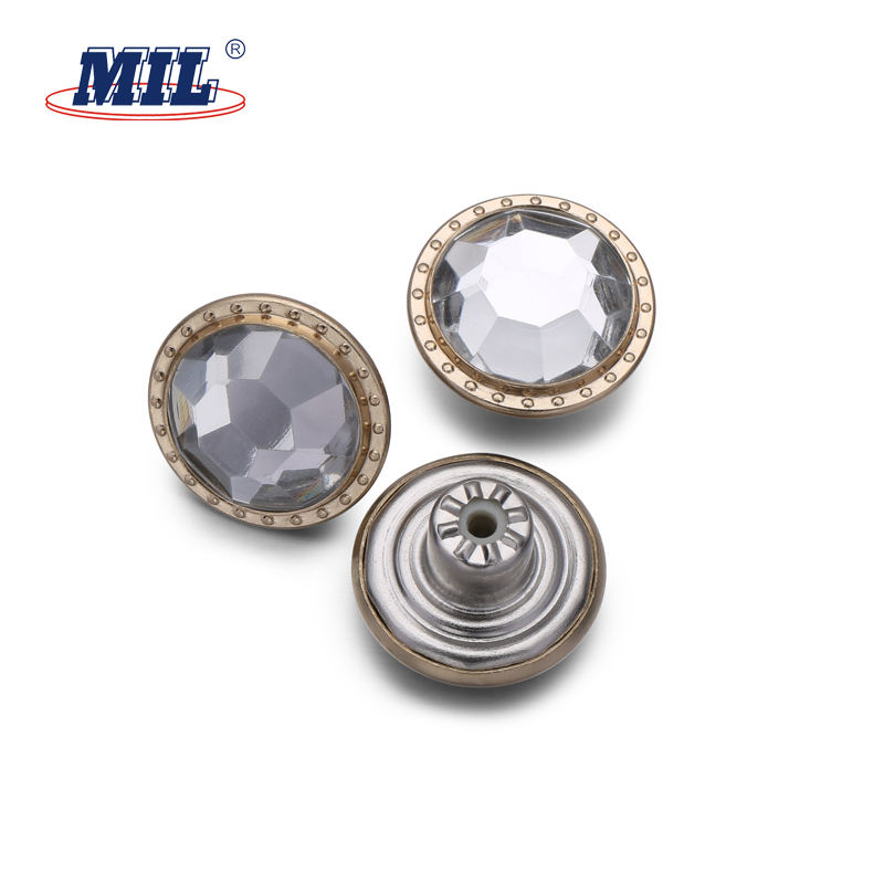 China suapply 17MM Fashion metal shiny rhinestone jean button with good quality