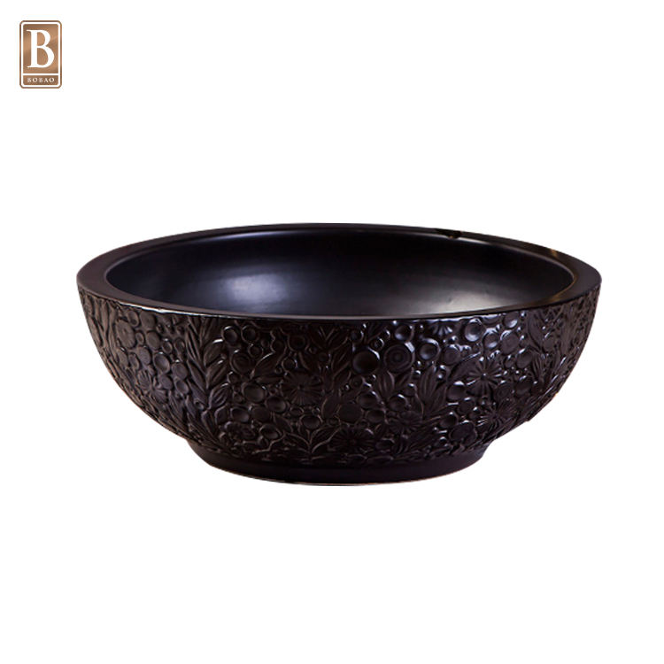 Sanitary Ware Round Black Bathroom Bowl Sink Embossed Art Ceramic Hand Wash Basin