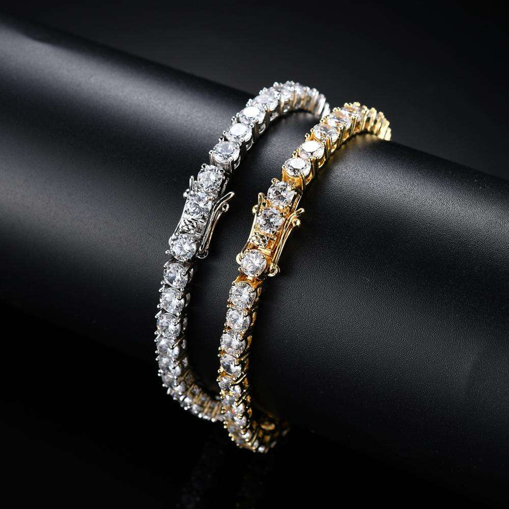 3mm 4mm 5mm Copper Zircon Tennis Chain Bracelet Hip hop Jewelry Gold Silver Material Men CZ Bracelet Iced Out B016