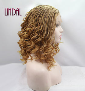 Synthetic Blonde Curly Braid Lace Front Hair Wig