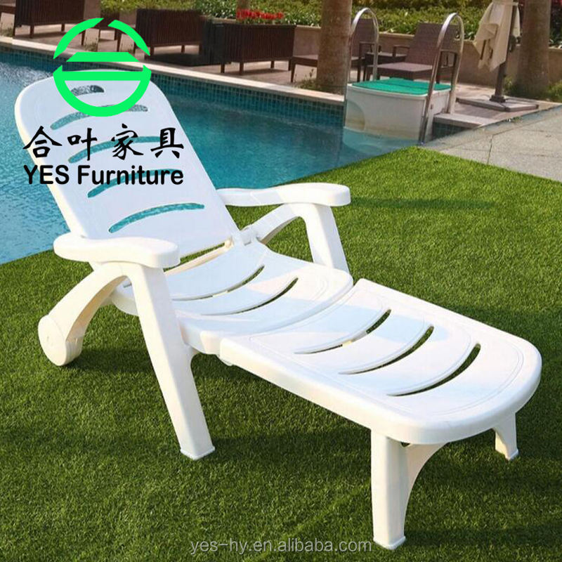 Wholesale outdoor furniture beach chairs white PVC portable sun lounge swimming pool folding chairT401#