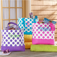 Freeshipping Custom Personalized Canvas Polka Dot Tote