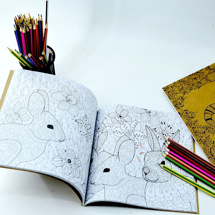 Students / Adults / Artist sketch book Spiral Notebook Coloring books Printing with pencils / Sketchbook with Stencils