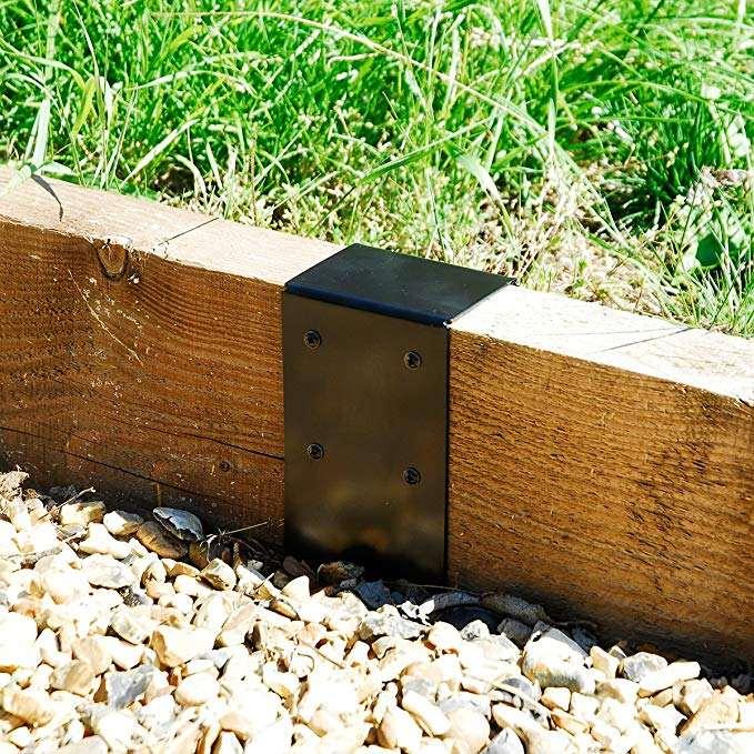 Timber Railway Sleeper Joining Plate Bracket Black