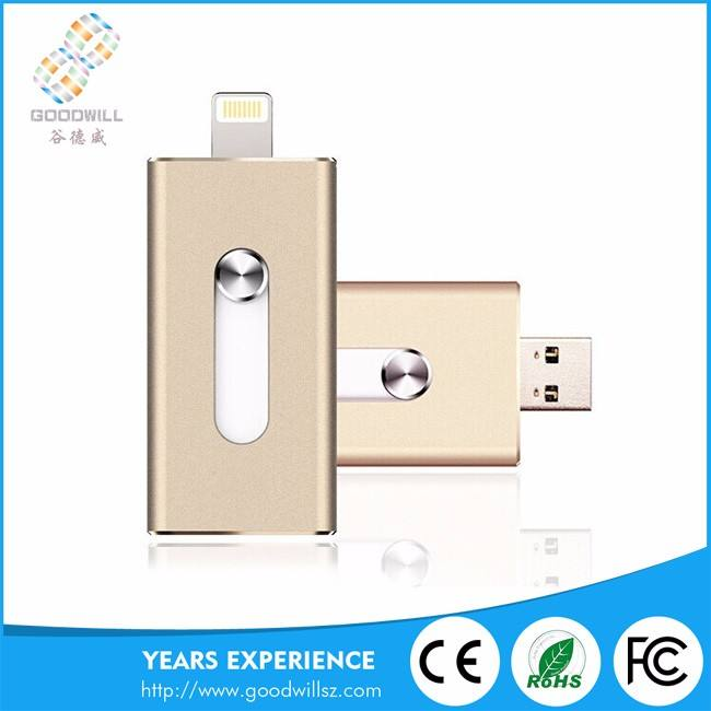 Wholesale Bulk 3 In 1 Metal Blank Otg 3.0 Mini Usb 2Gb/32Gb/64Gb Flash Drives Pendrive For Apple/Iphone/Iphone6 And Android
