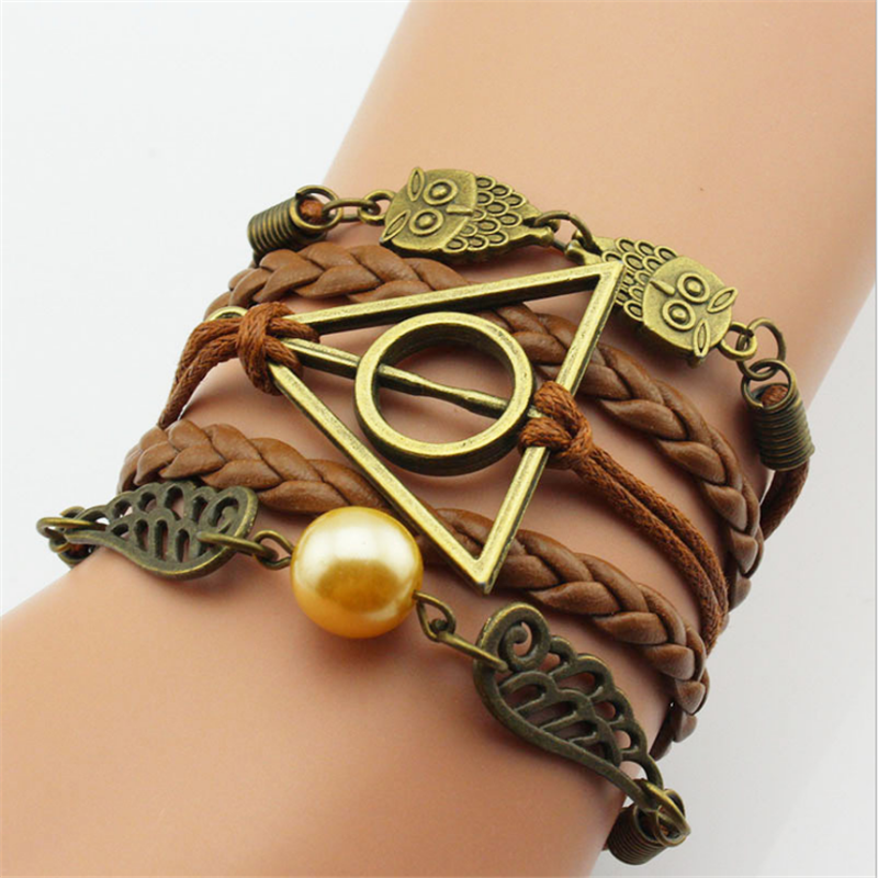 Hot selling vintage brown leather woven bracelet cooper peace bird owl charm charm bracelet