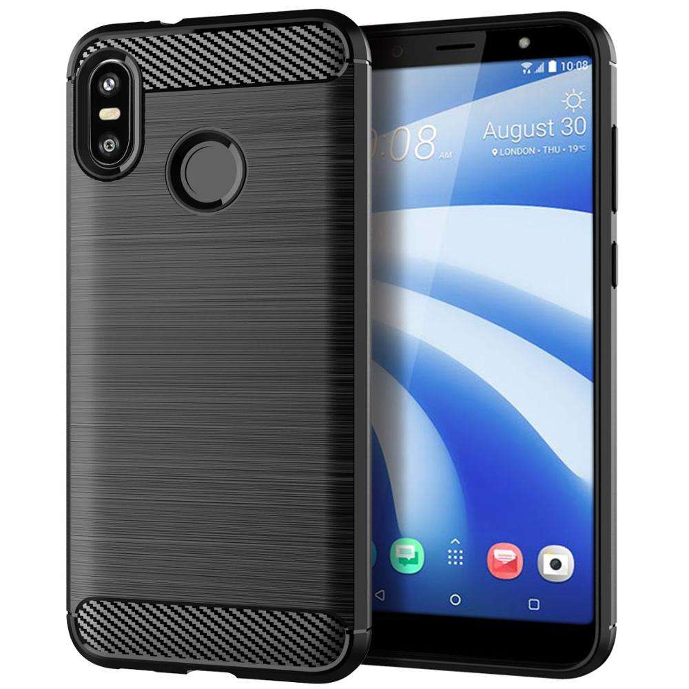 Carbon Fiber Shockproof Soft TPU Back Cover mobile Phone Case For HTC U12 Life