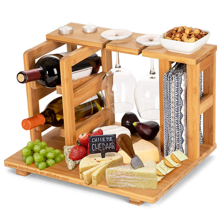 Bamboo wooden Wine Rack and Cheese Display Board with Wine Caddy, Wine Bottle and Glass Holder