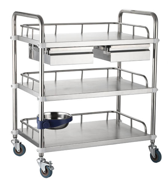 stainless steel medical trolley with drawers