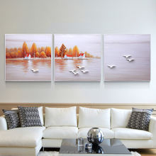 Beautiful Village Nearby Lake Oil Paintings on Canvas for Home Decoration