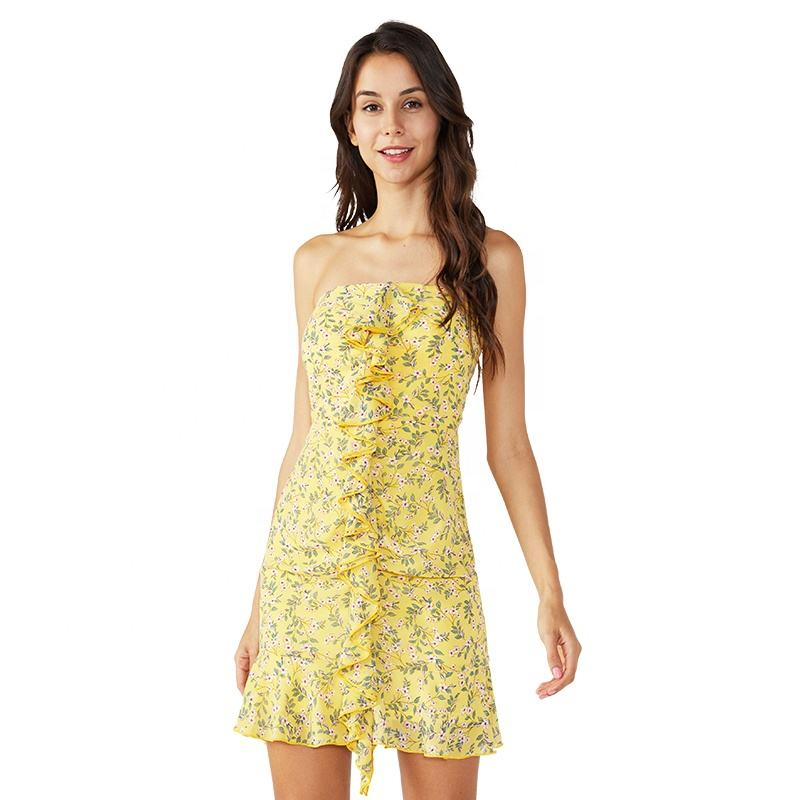 Impresión amarillo de moda de <span class=keywords><strong>las</strong></span> muchachas Kitenge mujer poco vestido ajustado