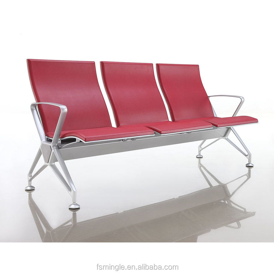 Full modular parts 3-seater airport chair waiting chairs with polyurethane seat