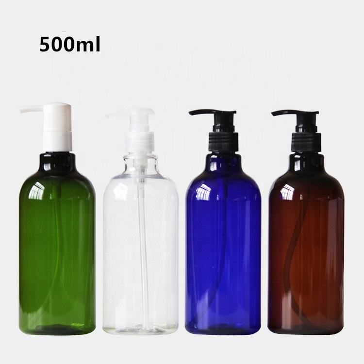 250ml 500ml 1000ml green blue amber clear PET plastic shampoo boston bottle with white clear black pump shampoo liquid dispenser