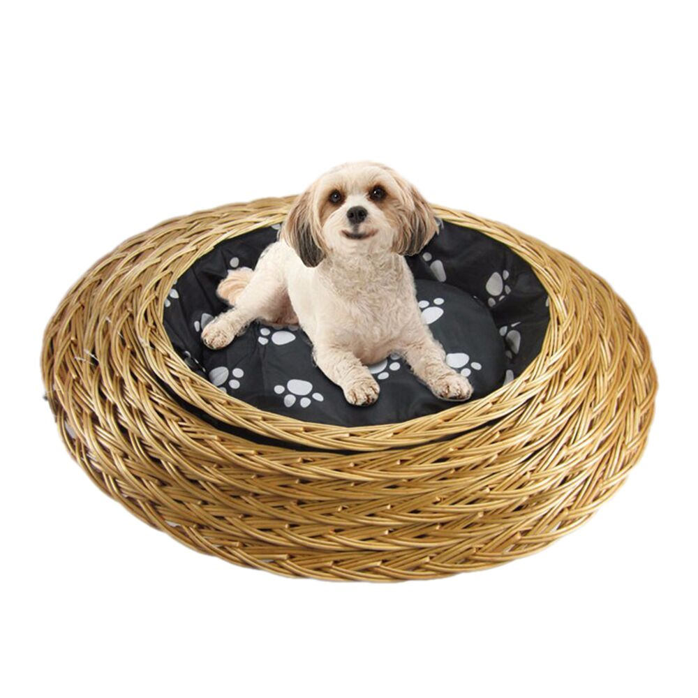 Handmade High Quality Multifunction Wholesale Wicker Knitted Pet House Rattan Outdoor Wooden Dog Bed