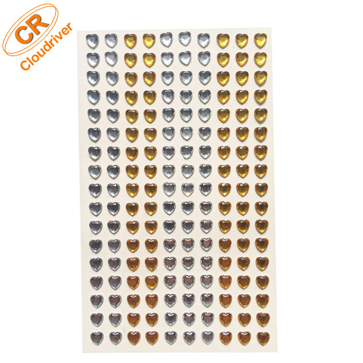 Groothandel Hart Decoratieve Crystal Sticker Kids Gem Diamanten Oorbel Sticker