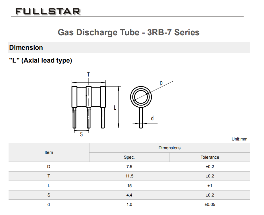GAS TUBE 260V 5A//5KA 3PIN CORE 10 pieces
