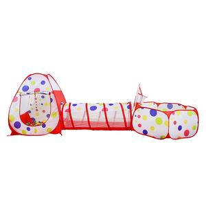 Combined Red Pop Up Kids Play House Tent With Tunnel